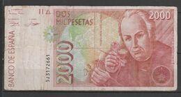 ESPAÑA BILLETE DE 2000 Pts. USADO CON DOBLES BUEN ESTADO (C.B.) - [ 4] 1975-… : Juan Carlos I