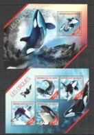 ST2677 2014 NIGER FAUNA FISH & MARINE LIFE ORCAS LES ORQUES KB+BL MNH - Walvissen
