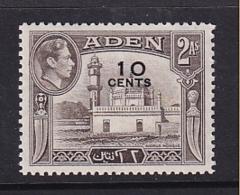 Aden: 1951   KGVI - Surcharge   SG37   10c On 2a     MNH - Aden (1854-1963)