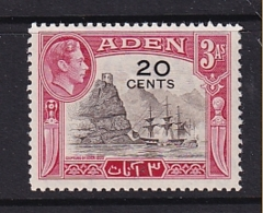 Aden: 1951   KGVI - Surcharge   SG39   20c On 3a     MNH - Aden (1854-1963)