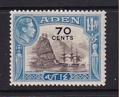 Aden: 1951   KGVI - Surcharge   SG42   70c On 14a     MNH - Aden (1854-1963)