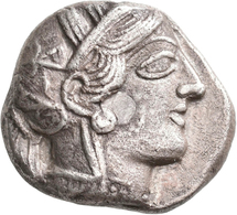 Attika: AR-Tetradrachme, Ca. 479-404 V. Chr., Athen, 16,26 G. Athenakopf Nach Rechts/Eule. Prüfhieb, - Greche