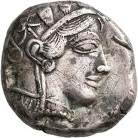 Attika: AR-Tetradrachme, Ca. 479-404 V. Chr., Athen, 17,12 G. Athenakopf Nach Rechts/Eule. Prüfhieb, - Greche
