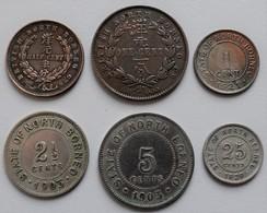 Borneo: British North Borneo: Set Von 6 Münzen: ½ Cent 1885, 1 Cent 1882, 1 Cent 1921, 2½ Cent 1903, - Afghanistan
