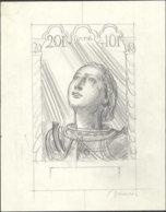 FRANCE Epreuves  768, Esquisse Au Crayon Inachevée, (265 X 210), Signée Decaris. 20f. Jeanne D'Arc. - Prueba De Artistas