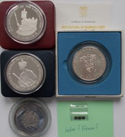 Alle Welt: Kleines Lot 4 Große Silbermünzen Und 3 Mini Münzen. Dabei: Jamaica 25 Dollars 1978, KM# 7 - Monete