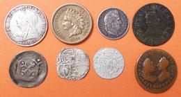 Alle Welt: Lot 8 Kleinmünzen Aus Aller Welt, Dabei: GB Victoria Six Pence 1897; USA 1 Cent 1860 Indi - Monete