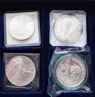 Alle Welt: Kleines Lot 4 X 1 OZ Silbermünzen, Dabei: 1 Onza Mexiko 1991; Kookaburra 1991; Eagle 1988 - Monete