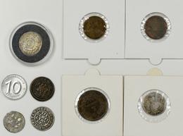 Alle Welt: Kleines Lot 9 Münzen Und Jetons, Dabei: Brasilien 200 Reis 1868, Glückstad 16 Schilling 1 - Monete