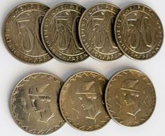 Proben & Verprägungen: Weimarer Republik 1918-1933: Lot 7 Stück, Probeprägung Zu 50 Reichspfennig 19 - Monete