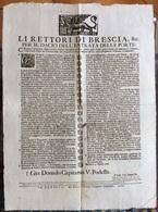 LEONE DI SAN MARCO - BRESCIA 1726 MANIFESTO : LI RETTORI DI BRESCIA,& C.  Policreto Turlino Stampator Camerale  40x50 - Israel