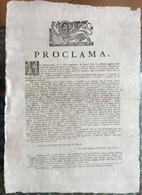 LEONE DI SAN MARCO - VERONA 1781  MANIFESTO : PROCLAMA  Capitano MARIO SQAVORGNAN -  F.LLI CARATTONI STAMPATORI DUCALI - Israel