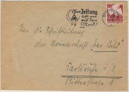 DR - 12 Pfg. Parteitag, Brief Stuttgart - Karlsruhe 1936, Masch.werbestempel !! - Deutschland