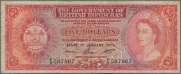 British Honduras: 5 Dollars 1973, P.30c, Lightly Stained Paper With Several Folds. Condition: F. Rar - Honduras