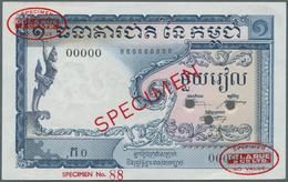 Cambodia / Kambodscha: Banque Nacional Du Cambodge 1 Riel 1955 TDLR Specimen, P.1s In UNC Condition - Cambogia