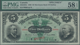 Canada: The Merchants Bank Of Halifax 5 Dollars 1896 SPECIMEN, P.S1184s, Soft Diagonal Bend At Lower - Canada