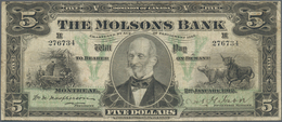 Canada: The Molsons Bank 5 Dollars 1912, P.S1235, Very Rare And Seldom Offered Note, Still Great Con - Canada