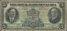 Canada: The Royal Bank Of Canada 5 Dollars 1927, P.S1383, Still Intact With Stained Paper And Some F - Canada