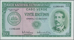 Cape Verde / Kap Verde: Banco Nacional Ultramarino 20 Escudos 1972, P.52, Soft Diagonal Bend At Cent - Cape Verde