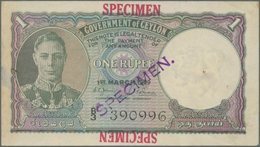 Ceylon: Government Of Ceylon 1 Rupee 1st March 1949 SPECIMEN, P.34as, Red Overprint And Lilac Stamp - Sri Lanka