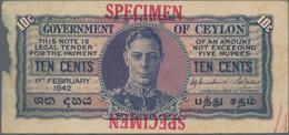 "Ceylon: Government Of Ceylon 10 Cents 1st February 1942 SPECIMEN, P.43as, Red Overprint ""Specimen"" A - Sri Lanka"