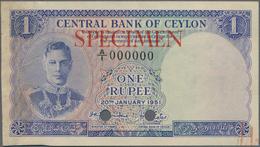 Ceylon: Central Bank Of Ceylon 1 Rupee 20th January 1951 SPECIMEN, P.47s, Punch Hole Cancelled And R - Sri Lanka