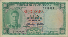 "Ceylon: Central Bank Of Ceylon 10 Rupees 20th January 1951, P.48s With Red Overprint ""Specimen"", Ser - Sri Lanka"