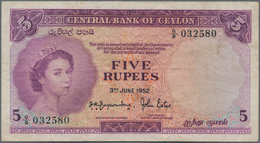 Ceylon: 5 Rupees 1952, P.51, Nice And Still Fresh Color Note With Some Minor Spots And Creases In Th - Sri Lanka