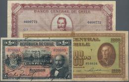 Chile: Nice Set With 3 Banknotes Republica De Chile 1 Peso 1919 P.15b (F), Banco Central De Chile 10 - Cile