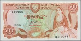 Cyprus / Zypern: Lot 2 Banknotes: 250 Mils 1982 P.41c Plus 500 Mils 1982 P.45a. Both In UNC Conditio - Cyprus