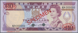 "Fiji: 10 Dollars ND Specimen P. 84s With Red ""Specimen"" Overprint At Center On Front And Back, 2 Ova - Fiji"