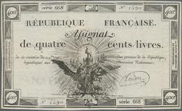 France / Frankreich: République Française 400 Livres Assignat November (9 Bre) 21st 1792, P.A73, Hig - 1955-1959 Overprinted With ''Nouveaux Francs''