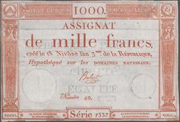 France / Frankreich: République Française Pair Of The 1000 Francs Assignat January 7th 1795, P.A80, - 1955-1959 Overprinted With ''Nouveaux Francs''
