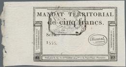 France / Frankreich: Trésorerie Nationale, Mandat Territorial, 5 Francs March 18th 1796 With Black H - 1955-1959 Overprinted With ''Nouveaux Francs''