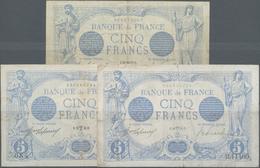 France / Frankreich: Banque De France Set With 3 Banknotes 5 Francs 1916/17, P.70 (Fay.2.36, 2.38, 2 - 1955-1959 Overprinted With ''Nouveaux Francs''