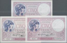 France / Frankreich: Banque De France Set With 3 Banknotes 5 Francs 1939 With Signature Title: Le Ca - 1955-1959 Overprinted With ''Nouveaux Francs''