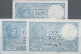 France / Frankreich: Banque De France Set With 3 Banknotes 10 Francs 1940/41 With Signature Title: L - 1955-1959 Overprinted With ''Nouveaux Francs''