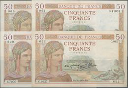 """France / Frankreich: Banque De France Set With 4 Banknotes 50 Francs 1937/39 """"Cérès"""" With Signatures - 1955-1959 Overprinted With ''Nouveaux Francs''"""