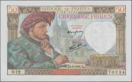 France / Frankreich: Banque De France Nice Lot With 10 Banknotes 50 Francs 1941, P.93, Some Of Them - 1955-1959 Overprinted With ''Nouveaux Francs''