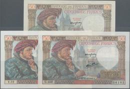 """France / Frankreich: Banque De France Set With 3 Banknotes 50 Francs 1941/42 """"Jacques Coeur"""", P.93 ( - 1955-1959 Overprinted With ''Nouveaux Francs''"""