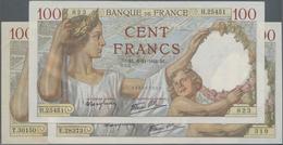 "France / Frankreich: Banque De France Set With 3 Banknotes 100 Francs 1941/42 ""Sully"", P.94 (Fay.26. - 1955-1959 Overprinted With ''Nouveaux Francs''"