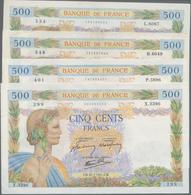"""France / Frankreich: Banque De France Set With 4 Banknotes 500 Francs 1941/42 """"La Paix"""", P.95b With - 1955-1959 Overprinted With ''Nouveaux Francs''"""