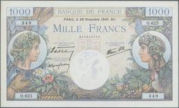 """France / Frankreich: Banque De France 1000 Francs November 28th 1940 """"Commerce Et Industrie"""", P.96a - 1955-1959 Overprinted With ''Nouveaux Francs''"""