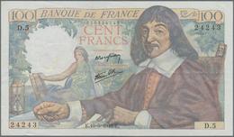 """France / Frankreich: Banque De France 100 Francs May 15th 1942 """"Descartes"""", P.101a With Signatures: - 1955-1959 Overprinted With ''Nouveaux Francs''"""