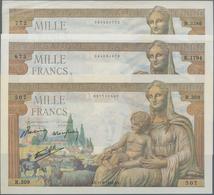 """France / Frankreich: Banque De France Set With 3 Banknotes 1000 Francs 1942/43 """"Déesse Déméter"""", P.1 - 1955-1959 Overprinted With ''Nouveaux Francs''"""