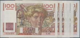 """France / Frankreich: Banque De France Set With 6 Banknotes 100 Francs 1946-51 """"Jeune Paysan"""", P.128a - 1955-1959 Overprinted With ''Nouveaux Francs''"""