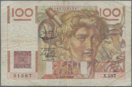 """France / Frankreich: Banque De France Pair Of The 100 Francs 1954 """"Jeune Paysan"""", P.128e, Signatures - 1955-1959 Overprinted With ''Nouveaux Francs''"""