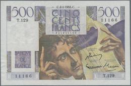"""France / Frankreich: Banque De France Pair Of The 500 Francs 1952/53 """"Chateaubriand"""", P.129c, Signat - 1955-1959 Overprinted With ''Nouveaux Francs''"""