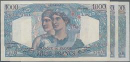"""France / Frankreich: Banque De France Set With 3 Banknotes 1000 Francs 1946/49/50 """"Minerve Et Hercul - 1955-1959 Overprinted With ''Nouveaux Francs''"""