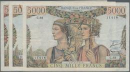 """France / Frankreich: Banque De France Set With 3 Banknotes 5000 Francs 1949/51 """"Terre Et Mer"""", P.131 - 1955-1959 Overprinted With ''Nouveaux Francs''"""